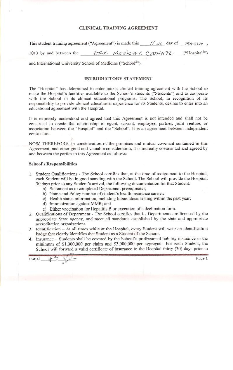 Clinical Training Agreement between IUSOM & Ark Medical Center-Page 1