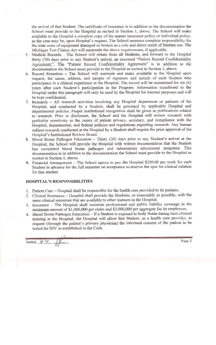 Clinical Training Agreement between IUSOM & Ark Medical Centre-Page 2