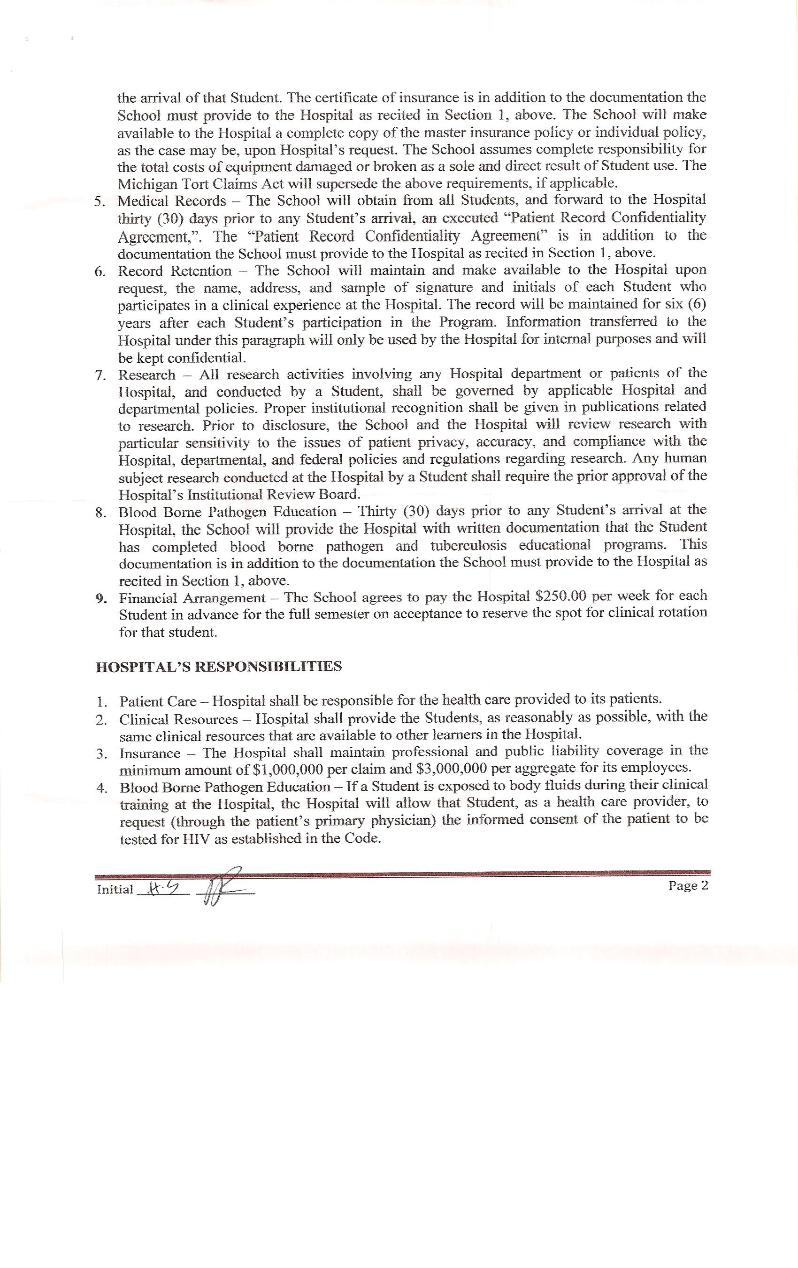 Clinical Training Agreement between IUSOM & Ark Medical Center-Page 2
