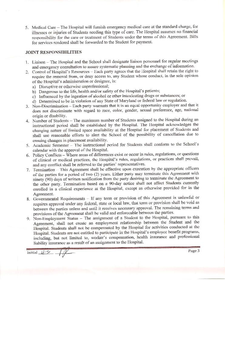 Clinical Training Agreement between IUSOM & Ark Medical Center-Page 3