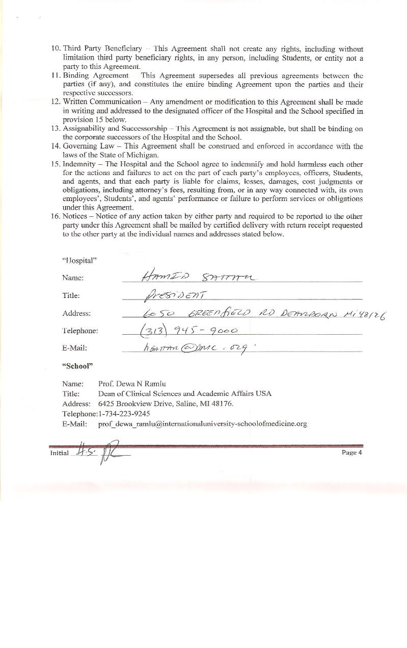 Clinical Training Agreement between IUSOM & Ark Medical Center-Page 4