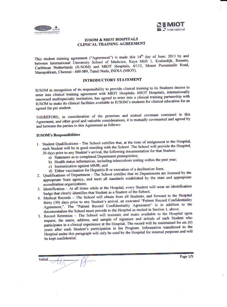 Clinical Training Agreement between IUSOM & MIOT Hospitals-Page 1