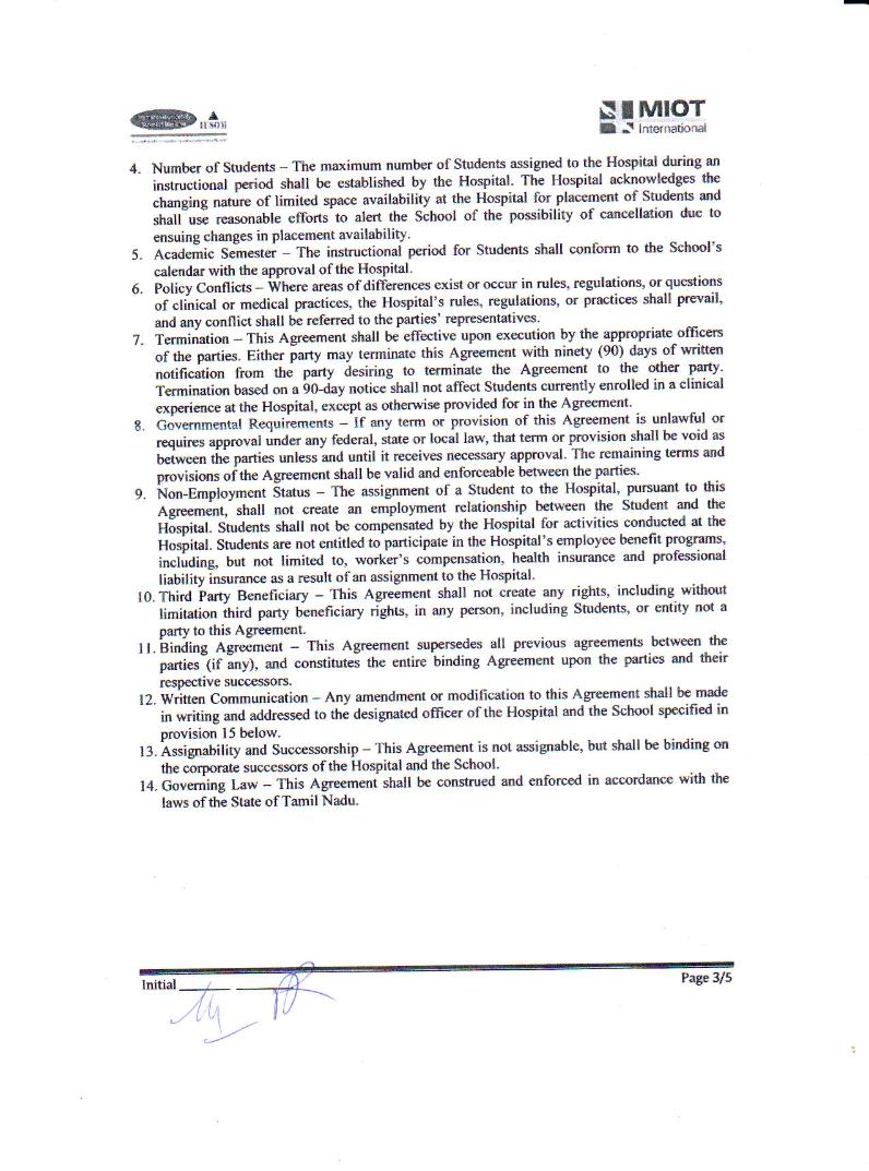 Clinical Training Agreement between IUSOM & MIOT Hospitals-Page 3
