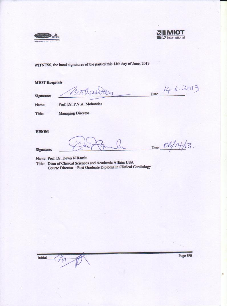 Clinical Training Agreement between IUSOM & MIOT Hospitals-Page 5