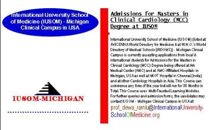 Admissions for Masters in Clinical Cardiology (MCC) Degree at IUSOM - Michigan Clinical Campus in USA being offered at Ark Medical Center (AMC) and at AMC-Affiliated Hospitals in Michigan, USA as well at MIOT Hospital in Chennai (India) and at other Cardiology Hospitals located in Asia