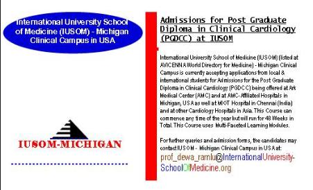 Admissions for Post Gradulate Diploma in Clinical Cardiology (PGDCC) at IUSOM - Michigan Clinical Campus in USA being offered at Ark Medical Center (AMC) and at AMC-Affiliated Hospitals in Michigan, USA as well at MIOT Hospital in Chennai (India) and at other Cardiology Hospitals &Institute located in Asia