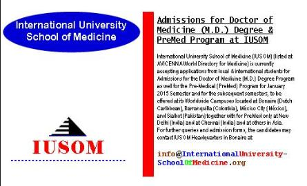 Admissions for Doctor of Science (M.D.) Degree & PreMed Program at IUSOM Worldwide Campuses