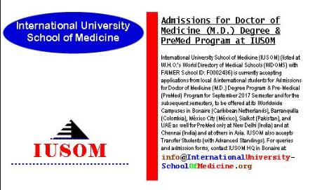 Admissions for Doctor of Medicine (M.D.) Degree & Pre-Medical (PreMed) Program at IUSOM Worldwide Campuses