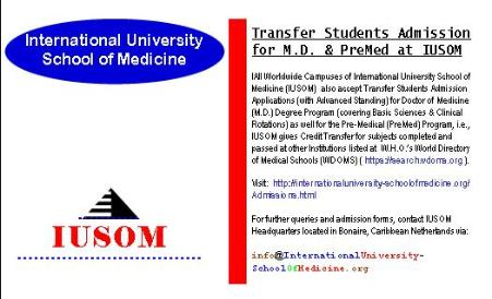 Transfer Students Admission for Doctor of Medicine (M.D.) and Pre-Medical (PreMed) at IUSOM Worldwide Campuses