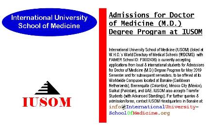 Admissions for Doctor of Medicine (M.D.) Degree Program at IUSOM Worldwide Campuses