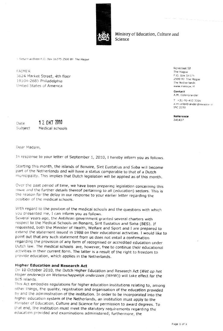 LETTER FROM MIN-OCW WRITTEN TO ECFMG-FAIMER.PAGE1