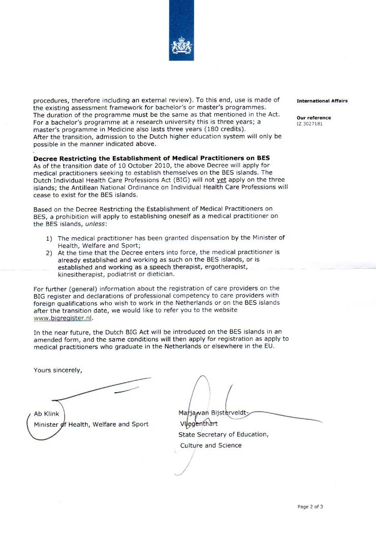 PERMISSION LETTER ISSUED TO IUSOM BY NETHERLANDS GOVERNMENT - SIGNED BY MINOCW AND MINVWS - PAGE 2